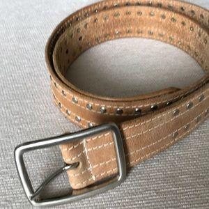 Tan silver studded leather belt size M